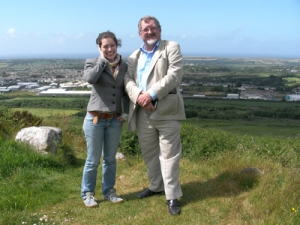 Leonor Medeiros and Stuart Smith on Carn Brea overlooking Camborne mining town, Cornwall